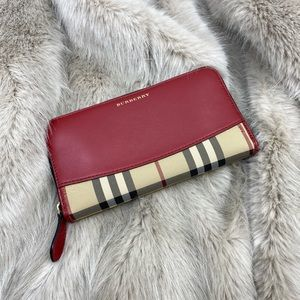 Burberry Red Nova Check Zip Around Wallet